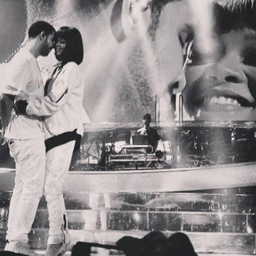 Rihanna and Drake on stage in Paris